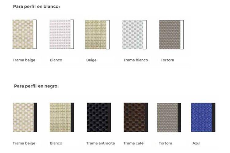 Carta colores recambios tumbona alfa y omega