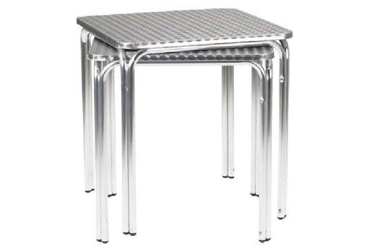 mesa aluminio terraza apilable