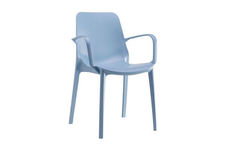 silla hosteleria Ginevra Arms azul lateral