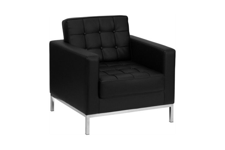 sillon hosteleria flor similipiel negro lateral
