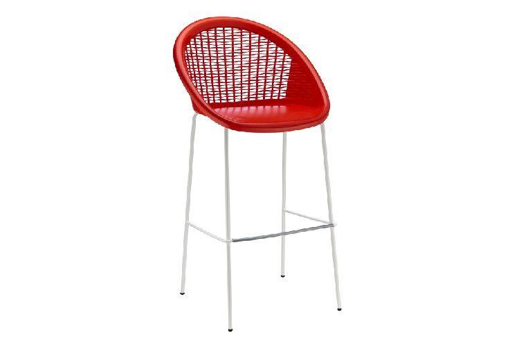 Taburete de diseño para hosteleria Bon Bon rojo