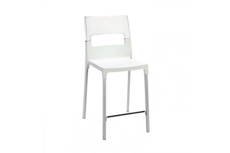 Taburete de diseño Diva blanco bajo