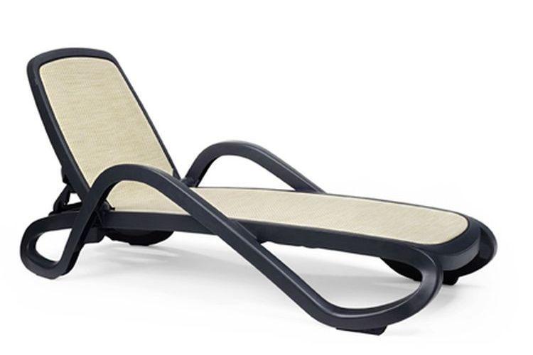 Tumbona con brazos de diseño Alfa antracita trama beige