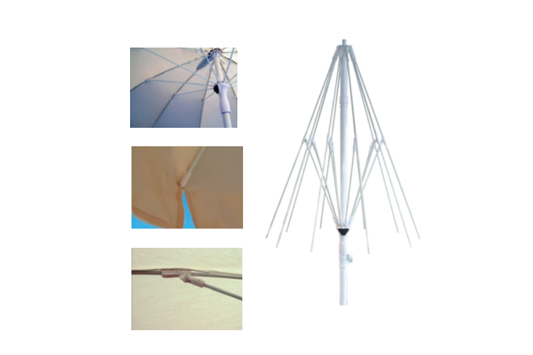 varillas, capuchones y visagras de Parasol aluminio estriado Ø2
